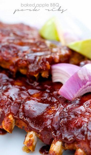 Baked Apple BBQ Pork Ribs | Recipe | Pork, Ribs and Baked apples