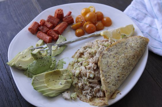 Seaside Kitchen: Paleo Lunch - Tuna with Egg Wraps and Avocado