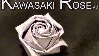 Conrad's Modified Kawasaki Origami Paper Rose - via YouTube.
