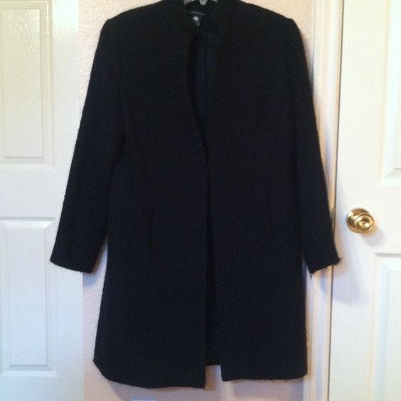 Black wool/blend long coat Black wool blend long coat with single hook closure.  Can be worn with fancy dress or casual wear. Valerie Stevens Jackets & Coats