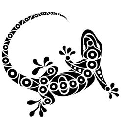 Gecko lizard silhouette tattoo tribal art stencil template