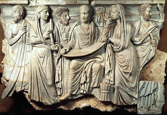 Relieve del sarcofago de un Filosofo  275 DC  Museo Sindical