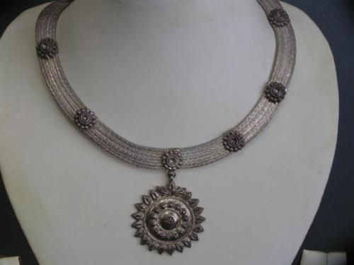 vintage tribal sterling india collar necklace