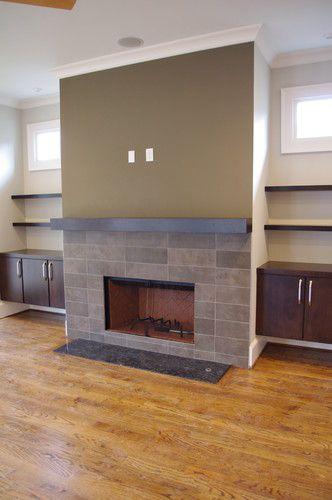 Residential new construction contemporary living room for Contemporary mantel