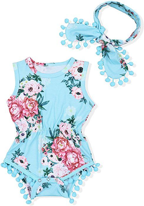 Kids Baby Girl Floral Tassel Jumpsuit Romper Bodysuit Clothes Outfits+Headband