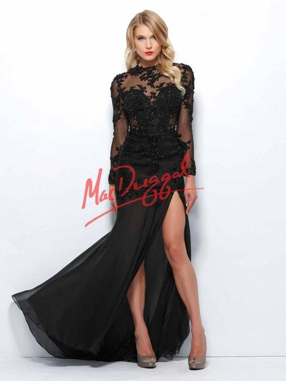 Black Long Sleeve Dress - Red Carpet - Mac Duggal 82110R - Black ...