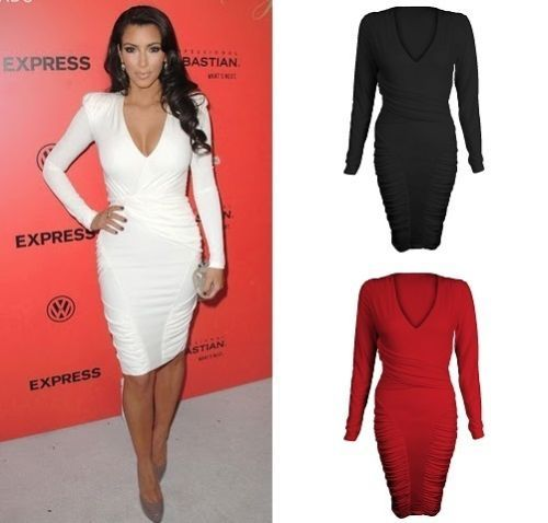 long sleeve midi bandage dress