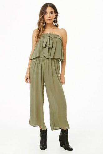 Crinkled Tube Culotte Jumpsuit