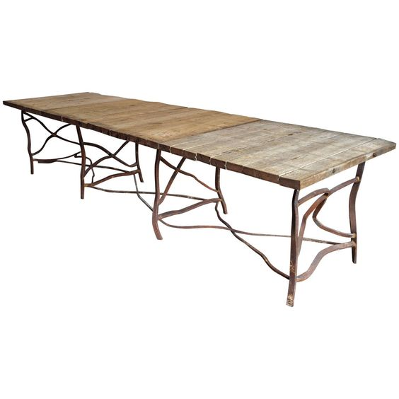 Extra long rusty base french table from a unique for Long contemporary dining tables