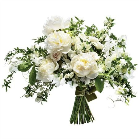 """Downton Abbey-inspired """"Duchess"""" bouquet of peonies, garden roses, spirea, and ferns."""