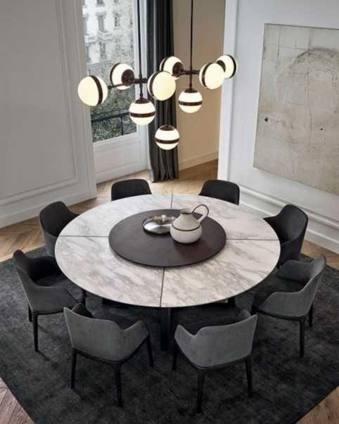 tapis rond sous de table bois salle a