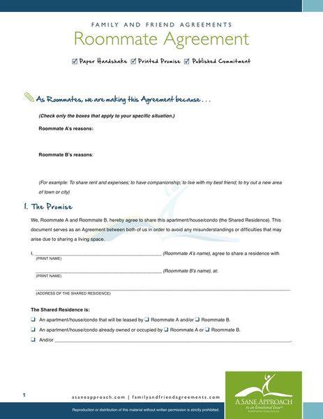 Printable Sample Roommate Agreement Form