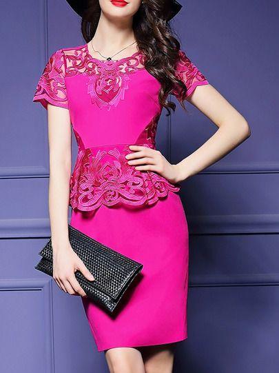Hot Pink Peplum Embroidered Sheath Dress