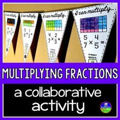 Multiplying fractions. In this collaborative activity students multiply fractions with the area model by showing the area each fraction covers on a common-denominator grid and looking for the intersection of the two colors. Students then reduce their fractions and write their answers in the boxes on each pennant.