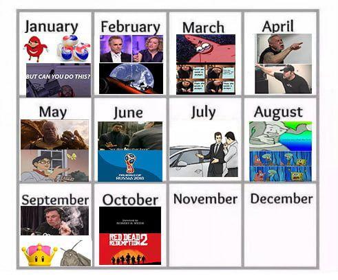 Meme Calendar 2018 October Completed Meme Calendar Memes Funny