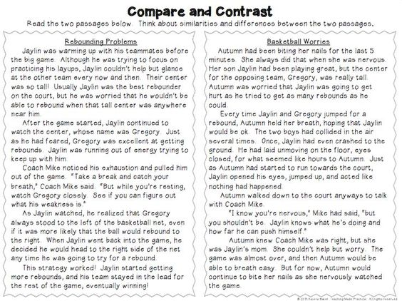 Compare and Contrast Activities Poems Reading Passages and – Compare and Contrast Worksheet