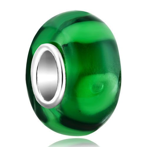 Pugster Transparently Emerald Green Murano Glass Beads Fits Charm Bracelets R70