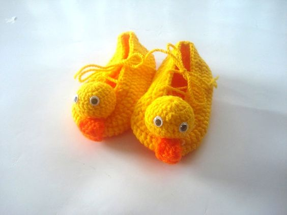 yellow duck Baby Booties kids slippers baby by AnatoliaDreams, $25.00: