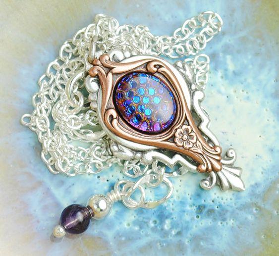 Art Nouveau Necklace Multicolor Necklace Mixed by EarthToJill