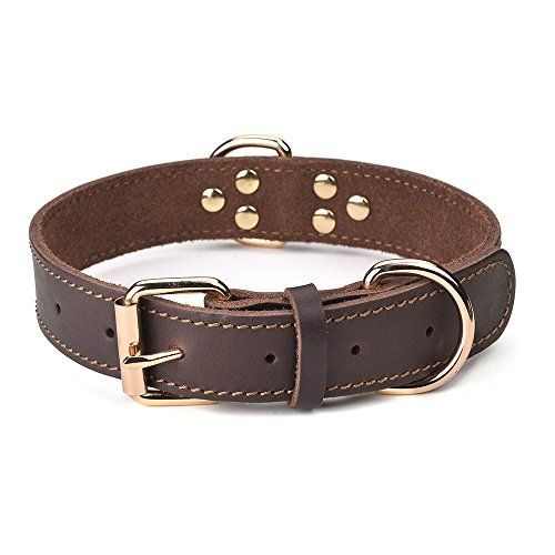 Daihaqiko Leather Dog Collar Genuine Leather Alloy Hardware Double