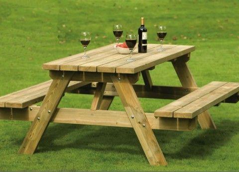 Explicacion de como hacer un banco en madera con mesa for Bancas para jardin de madera
