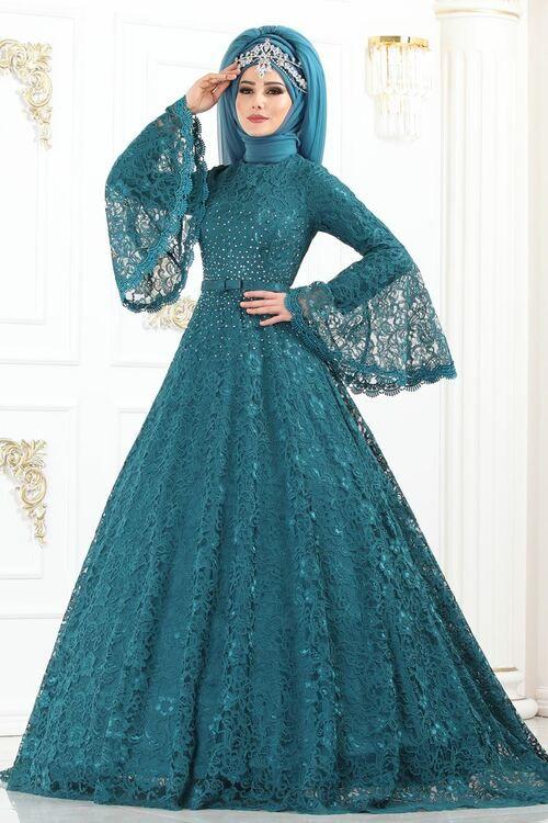 Modaselvim Abiye Volan Kol Tasli Dantel Abiye 5143ay342 Petrol Muslim Fashion Dress Muslim Prom Dress Muslim Evening Dresses