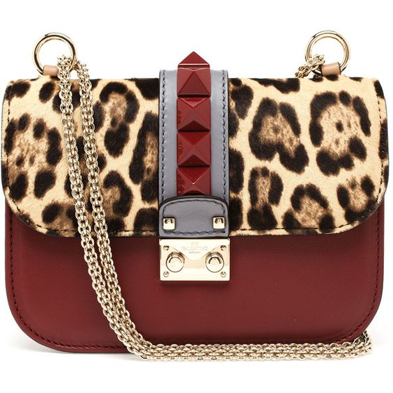 Valentino Medium Leather Lock Shoulder Bag ($1,660) ❤ liked on Polyvore featuring bags, handbags, shoulder bags, bolsas, purses, laukut, leopard purse, leopard print purse, leather handbags and leopard print handbags