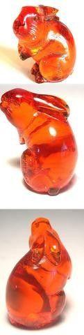 Vintage Japanese amber netsuke-Rabbit standing,signed | #59114128