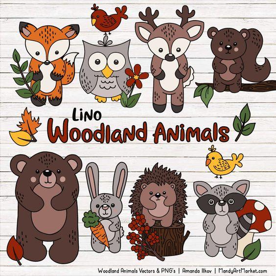 Free Woodland Animals Clipart Vectors Mandy Art Market Animal Clipart Animal Clipart Free Woodland Animals