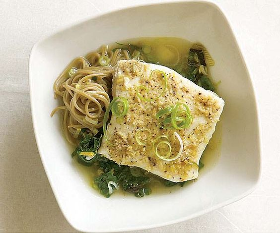 Lemon-Ginger Poached Halibut with Leeks & Spinach from @Fine Cooking # ...