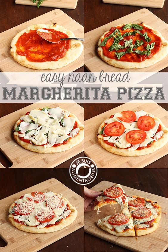 Margherita Pizza on Naan Bread {Food-gasm!!} I ♡ this blog!! She's fabulous!   Blog: Je Suis Alimentageuse