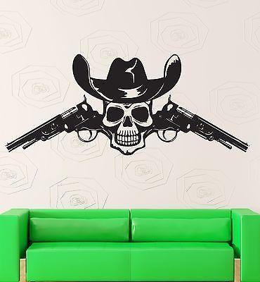 Wall Sticker Vinyl Decal Skull Scary Creepy Guns Texas Western Decor (z1010m)