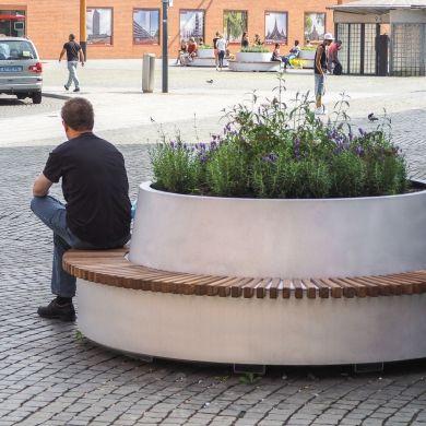 Green Circular Benches Tree Planters Vertical Garden Indoor Urban Furniture Bench