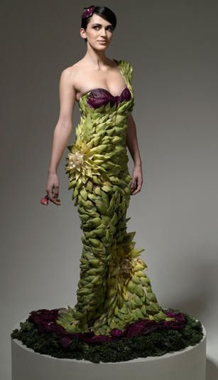 A dress made from artichoke leaves.