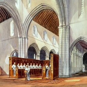 Drawing of Rievaulx Abbey showing monks worshipping in the church of the Cistercian monastery. © English Heritage Photo Library.