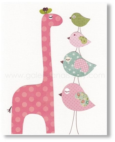 Illustration pour chambre d 39 enfant fille girafe oiseau - Illustration chambre bebe ...