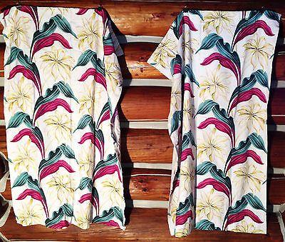 2 Vintage 30s 40s Floral Barkcloth Drapes Curtain Panel Pair ...