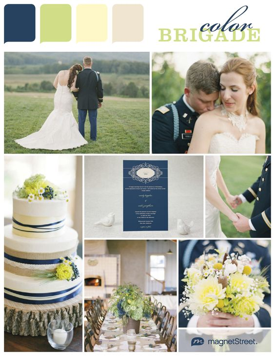 Navy, green and gold/yellow color palette -very fresh and elegant. Nice for a military wedding.