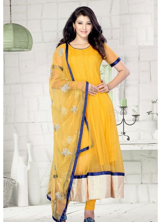 Yellow Net Designer Salwar Kameez