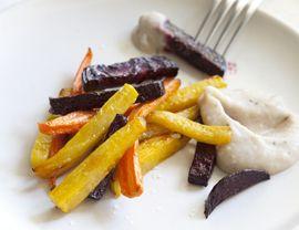 Root Vegetable Sticks with Roasted Garlic Dip