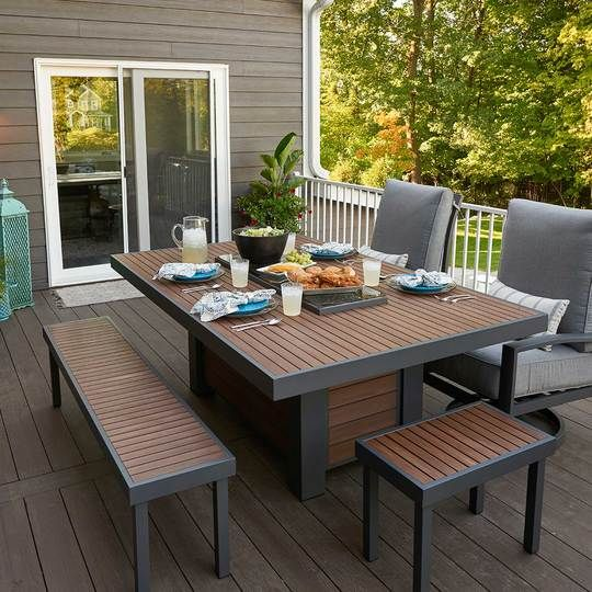 Kenwood Short Bench Gas Firepit Patio Gas Fire Pit Table