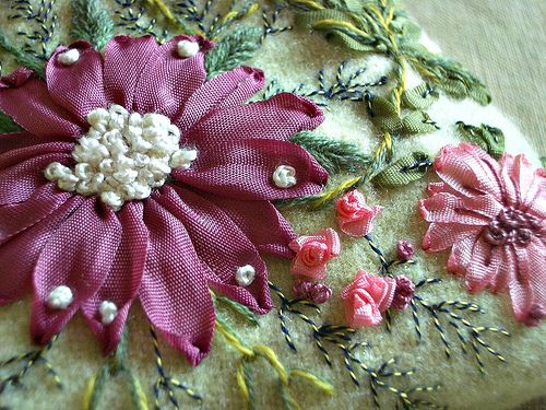 I ❤ ribbon embroidery . . . Spring embroidered, closeup details ~By Veronique M