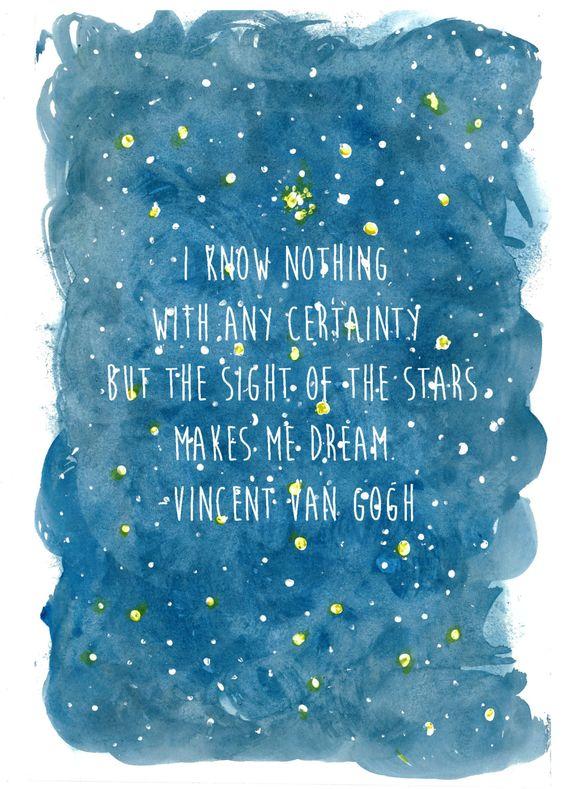 Vincent Van Gogh quote on original watercolor by KatiesCustomArt
