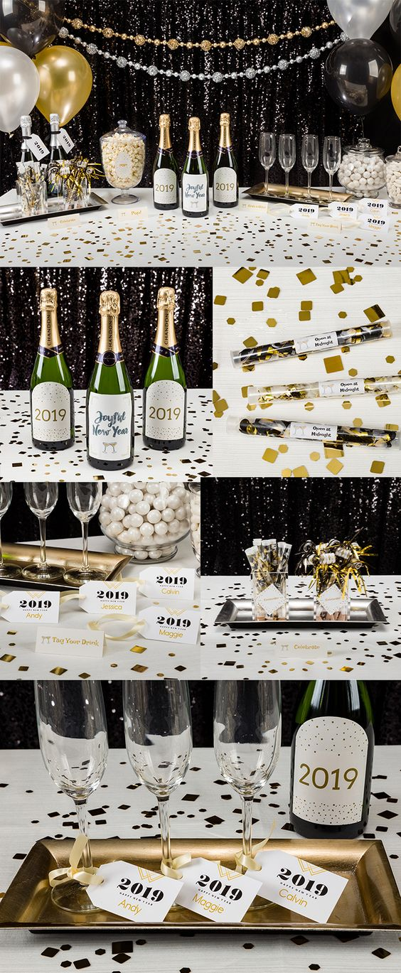 Make your New Year's Eve Party unforgettable with this easy DIY New Year's Eve champagne table. Create these customized elements using Avery labels, tags, tent cards and the free printable templates at Avery Design & Print Online.  Champagne Bottle Labels: Avery 22826 & 22827 Champagne Flute Name Markers: Avery 22802 Tent Cards: Avery 16109 Champagne Tags: Avery 22802 Popcorn Label: Avery 22820