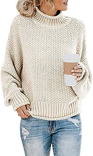 Womens Turtleneck Sweater Long Sleeve Casual Ribbed Knit Pullover Tops