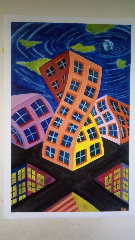 Town Oil painting on canvas Surrealism By Andrey Arnoldov Original #Surrealism