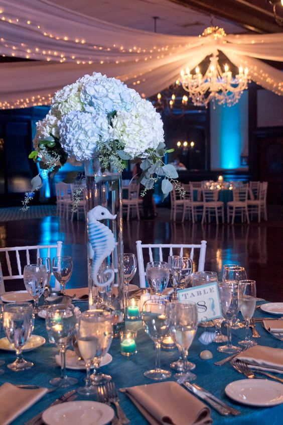 Blue and White Hydrangea Centerpieces, Beach wedding centerpieces, seahorse wedding centerpieces :: ocean inspired wedding :: seahorses & starfish :: the rusty pelican tampa :: A Rose Designs Wedding Planning | LoveStorey Photography