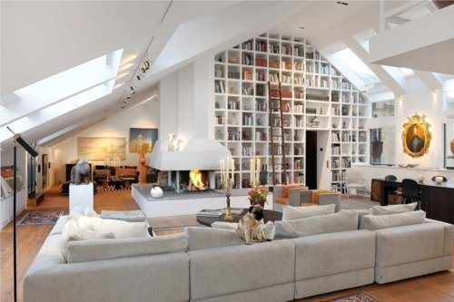 bookcases-vaulted-ceiling