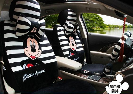 FOR Jeep NEW Mickey Mouse Sideless Car Seat Covers Lanyard Accessories Set