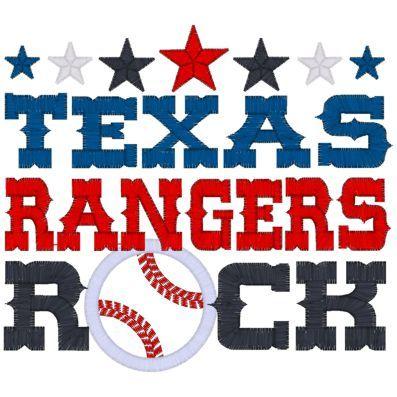 Sayings (4036) Texas rangers Rock Applique 5x7